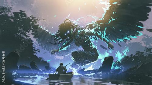 Fotografie, Obraz man on boat facing a legendary angel in the dark forest, digital art style, illu