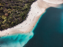Aerial View Of Tallebudgera Creek With People Sunbathing And Swimming In The Water, Gold Coast, Australia.