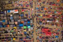 Aerial View Of People Working And Trading At Rahman Market Along Karnaphuli River, Chittagong, Bangladesh.