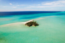 Aerial View Of Erruh Huraa Small Island With Green Vegetation On Kaafu Atoll, Malé, Maldives.