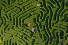 Aerial View Of A Beautiful Maze In A Garden In Royal Oak Farm Orchard Near Harvard, Illinois, United States.