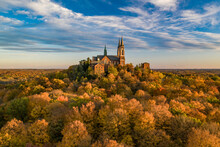 Aerial View Of Holy Hill, A Medieval Style Church On Hilltop, Hartford, Wisconsin, United States.