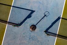 Aerial View Of Tennis Courtyard At Sebastian River High School In Vero Beach, Florida, United States.