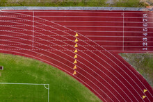 Aerial View Of Athletic Track Along The Football Field At Sebastian River High School In Vero Beach, Florida, United States.