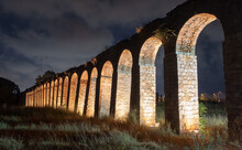 Night View Of The Remains Of The 200 Year Old Ottoman Aqueduct, Supplied Water From Cabri Springs To Acco, Western Galilee, Israel.