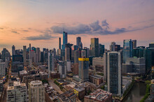 Chicago, United States - 16 May 2020: Aerial View Of Chicago Skyline During Sunset, View Of Financial District And City Downtown, Chicago, Illinois, United States.