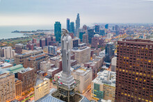 Chicago, United States - 20 June 2020: Aerial View Of Chicago City Center At Sunset, View Of Tall Building In City Downtown, Chicago, Illinois, United States.