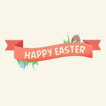 Isolated Happy Easter Eggs Red Flag Vector Illustration