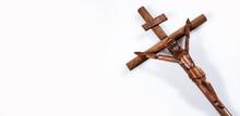 Christian Cross In Wood - Symbol Of The Catholic Faith