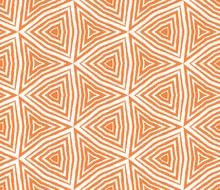 Striped Hand Drawn Pattern. Orange Symmetrical