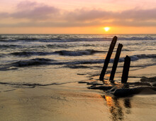 Sunset Over Ruined Old Pier Pilings At Fort Funston Beach. San Francisco, California, USA.