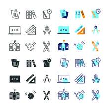 Education Vector Icon Set School Stationery Geometry Exam Test Icons
