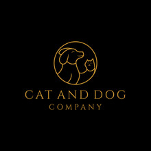 Dog And Cat Vector Logo Design With Monoline Concept For Cat And Dog Animal Lovers