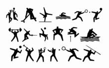 Black Silhouette Sport Activity Set