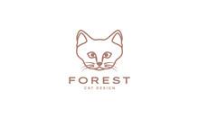 Cute Head Animal Forest Cat Lines  Logo Symbol Vector Icon Illustration Graphic Design