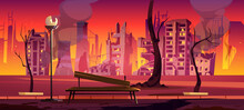 Destroyed City Park, War Zone, Abandoned Urban Garden With Burnt Bench, Trees And Buildings. Destruction, Natural Disaster Or Cataclysm, Post-apocalyptic World Ruins, Cartoon Vector Illustration