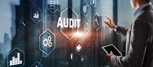 Audit. Checking The Financial Statements Of The Company. Businessman Touching Audit On 3d Virtual Screen