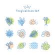 Vector hand drawn tropical summer icon set