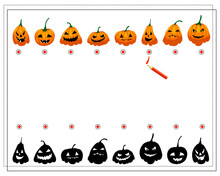 Find The Right Shadow, Halloween Pumpkins With Different Faces, Vector Isolated On White Background