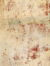 Texture Of An Old Metal Garage Wall Exposed To Weather And With Rust And Peeling Paint
