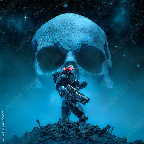 Billede på lærred Cyberpunk soldier skull moon / 3D illustration of science fiction military robot