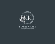Initial KK Handwriting Monogram Logo Vector