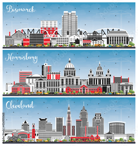 Photo Harrisburg Pennsylvania, Cleveland Ohio and Bismarck North Dakota City Skyline Set