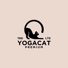 Cat Yoga Pose Vintage Logo Icon Illustration Premium Vector