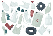 Waste Trash Rubbish, Environment Ecology Pollution Vector Illustration Set. Cartoon Garbage Collection With Plastic Glove Package Bag, Glass Bottle, Car Rubber Tire And Tin Can Isolated On White