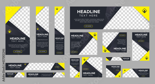 set of creative web banners of standard size with a place for photos. Vertical, horizontal and square template. Vector EPS