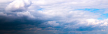 Soft Focused Panoramic View Of Beautiful Thunderclouds. Beautiful Dramatic  Blue Sky Background. Rainy Weather. Soft Focus Photo.
