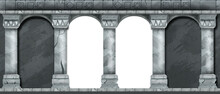 Stone Ancient Arch, Vector Castle Wall, Marble Gray Pillars, Architecture Facade Medieval Background. Classic Roman Column Temple Entrance, Traditional Renaissance Portal. Stone Arch Illustration