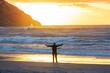 Leinwandbild Motiv Happy man on the beach