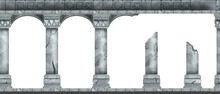 Stone Arch Vector Seamless Background, Ancient Greek Temple Column, Classic Palace Entrance Pillar. Old Antique Roman Broken Portal, Marble Arcade Frame. Medieval Stone Arch Ruin Isolated Illustration