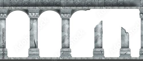 Fotografie, Obraz Stone arch vector seamless background, ancient Greek temple column, classic palace entrance pillar