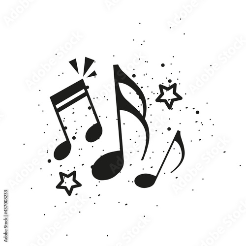 Fotografiet Music Notes Concept - Black Vector Illustration Isolated On White Background