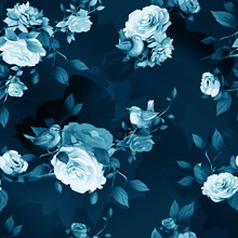 Seamless Background Pattern With Peony, Wren Birds, Abstract Flowers, Leaves On Dark Blue. Hand Drawn Illustration. Stylized Version, Vector - Stock.