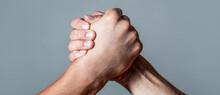 Arms Wrestling. Closep Up. Friendly Handshake, Friends Greeting, Teamwork, Friendship. Handshake, Arms, Friendship. Man Hand. Two Men Arm Wrestling