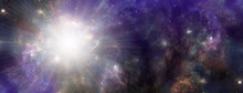 Massive Deep Space Cosmic Event -  Wide Outer Space Celestial Landscape Showing Birth Of A Star Scalar Energy Radiating Outwards With Space For Copy To Right Side