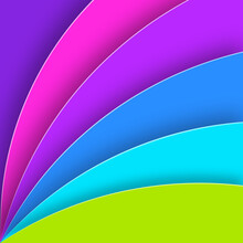 Bright Summer Background With Colorful Paper Cut Shapes.