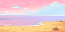 Realistic Beautiful Landscape Depicting A Pink Sunset Sky With Clouds, Sea And Sandy Shore. Long Banner With Nature, Vacation And Coast Of Thailand Or Maldives Travel