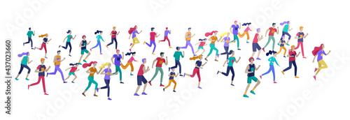 Fotografia People Marathon Running Sport race sprint, concept illustration running men and women wearing sportswer in landscape