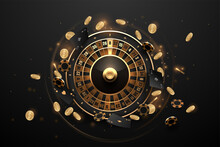 Casino Roulette In Black And Gold Style With Effects