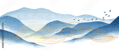 Valokuva Blue mountain and golden line arts background vector