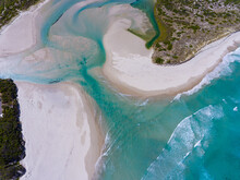 Aerial View Over The Wilson Inlet Where It Meets The Sea