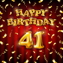 Golden Number Forty One Metallic Balloon. Happy Birthday Message Made Of Golden Inflatable Balloon. 41 Number Letters On Red Background. Fly Gold Ribbons With Confetti. Vector Illustration
