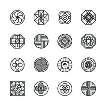 Korea Traditional Pattern Outline Icon Collection. Thin Line Icon Vector Illustrator.