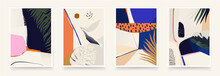 Set Of Colorful Abstract Tropical Prints. Modern Style Wall Decor. Collection Of Contemporary Artistic Posters.