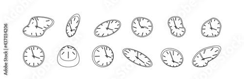 Fototapeta Clock icon set in liquid deformed line Dali style, melting clocks distorted shape, linear collection illustration