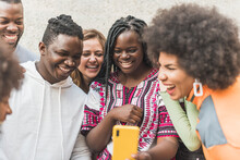 Happy Multiethnic Friends Taking Selfie On Smartphone In Town